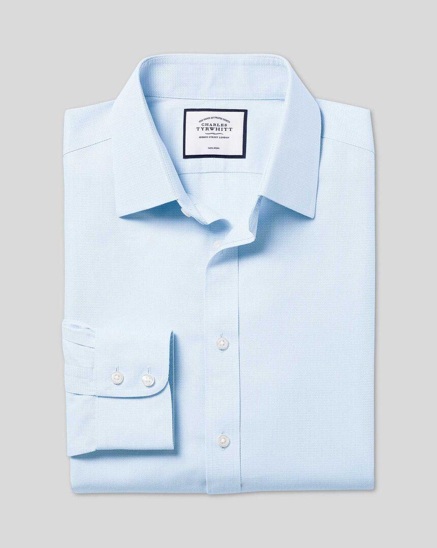 Classic Collar Non-Iron Mini Herringbone Shirt - Sky