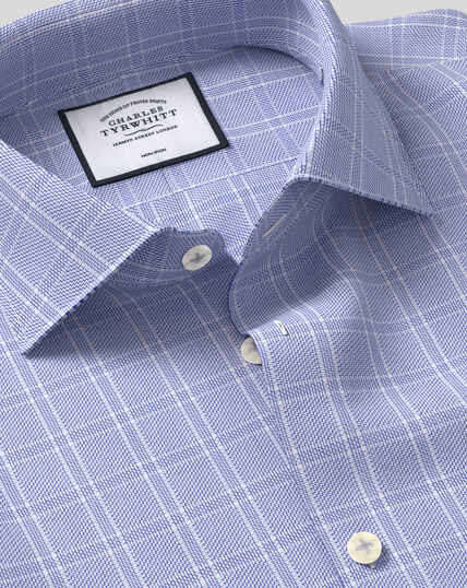 Business Casual Collar Non-Iron Natural Stretch Check Shirt - Blue