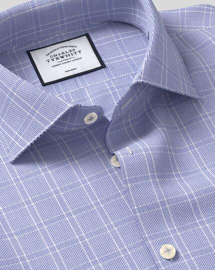 Bügelfreies Hemd mit natürlichem Stretch, Business-Casual-Kragen und Karos - Blau
