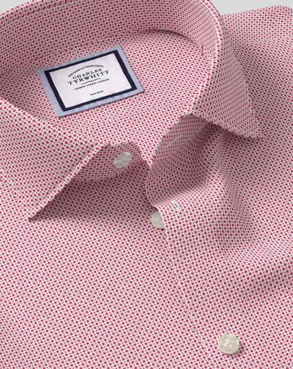 Bügelfreies Hemd mit Business-Casual-Kragen und Punkte-Print - Rot