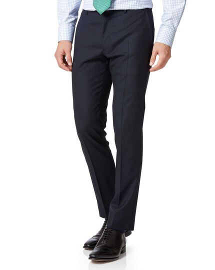 Midnight blue extra slim fit Merino business suit trousers