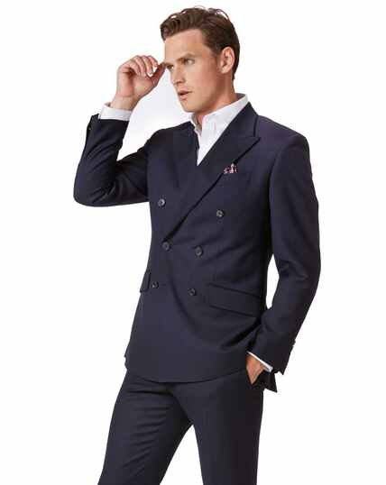 3796a2c511291c Navy slim fit double breasted twill business suit jacket