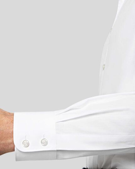 Semi-Cutaway Collar Egyptian Cotton Poplin Shirt - White