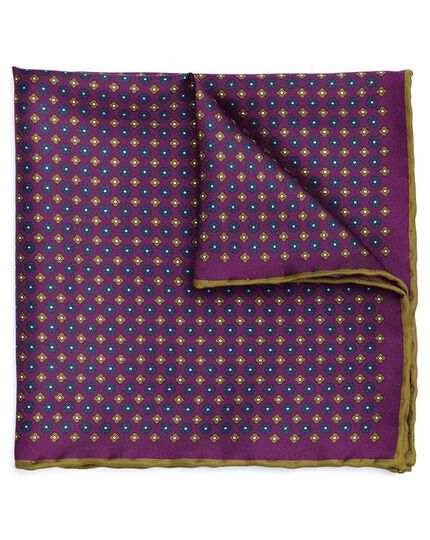 Purple and olive silk mini floral printed pocket square