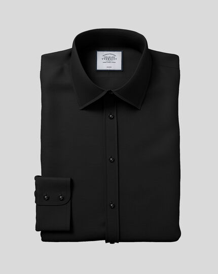 Classic Collar Non-Iron Poplin Shirt  - Black