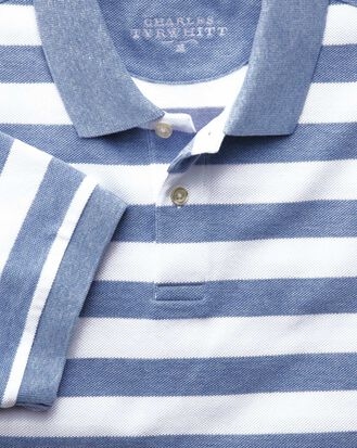 Sky blue and white stripe pique polo