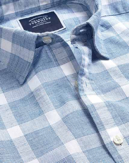 Cotton Linen Short Sleeve Check Shirt - Blue & White