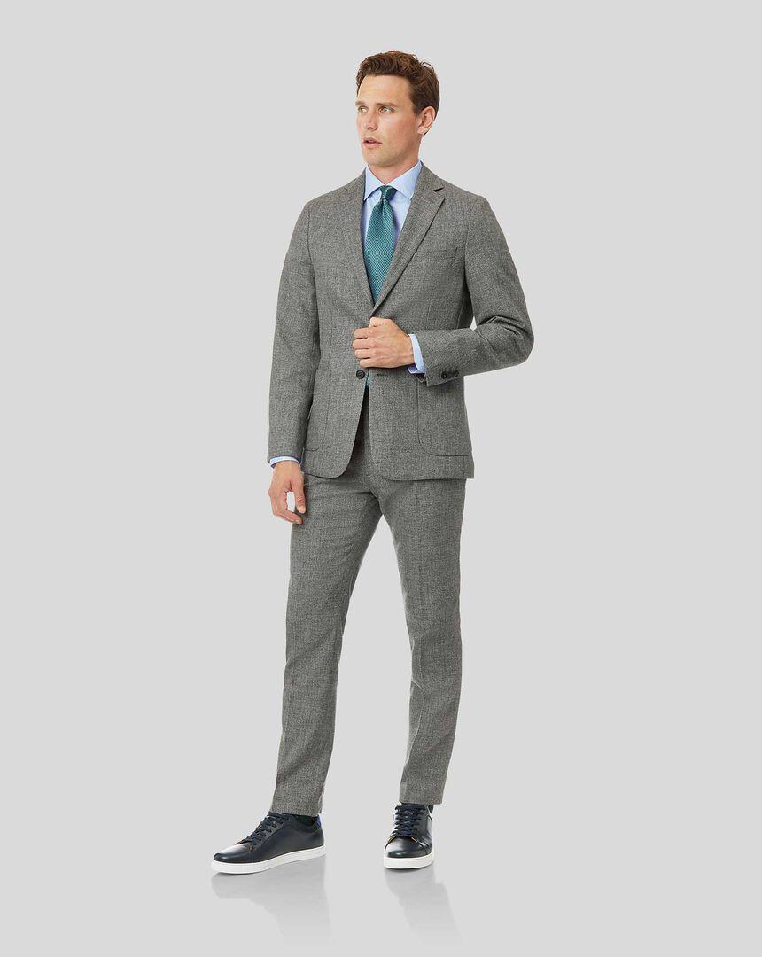 Wool Cotton Linen Suit - Grey