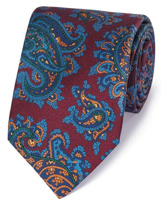 Burgundy and blue silk printed paisley English luxury tie