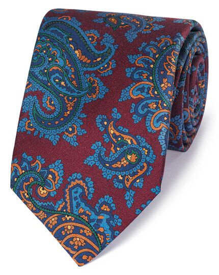 Burgundy and blue silk printed paisley English luxury tie