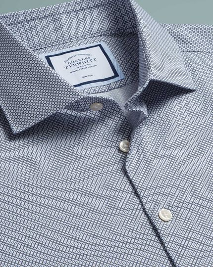 Slim fit non-iron circle print navy shirt