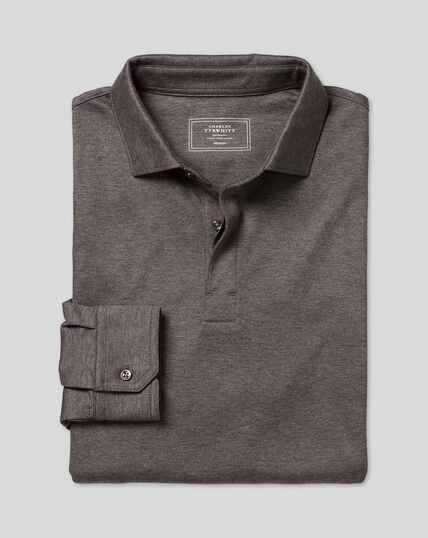 Langärmeliges Polo aus Baumwolle-TENCEL™-Mix - Braun