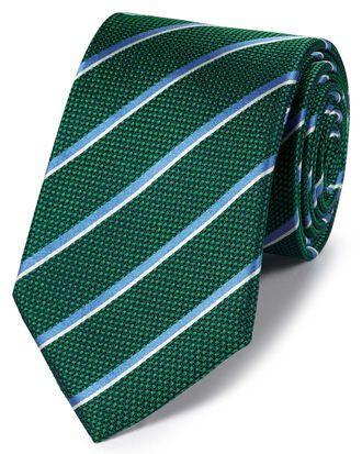 Klassische Krawatte aus Seide mit traditionellen Streifen in Grün und Himmelblau