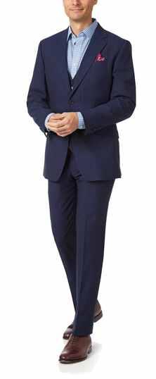 Slim Fit Businessanzug aus Panama-Gewebe mit Streifen in Marineblau