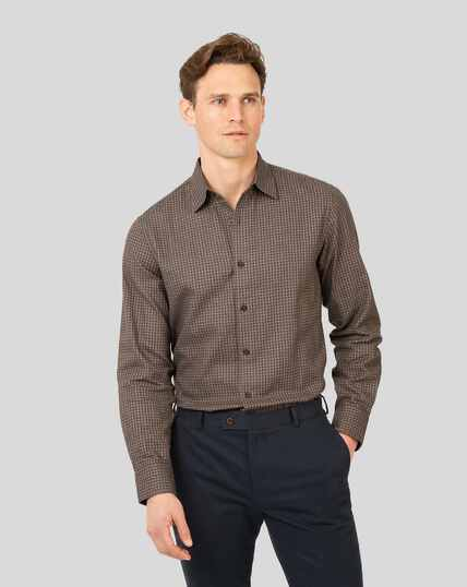 Classic Collar Dobby Flannel Gingham Shirt - Brown & Blue