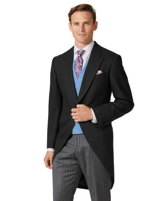 Black classic fit morning suit tail coat