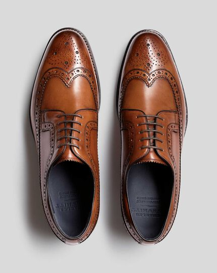 Goodyear Welted Brogue Wing Tip Derby Performance Shoe - Tan