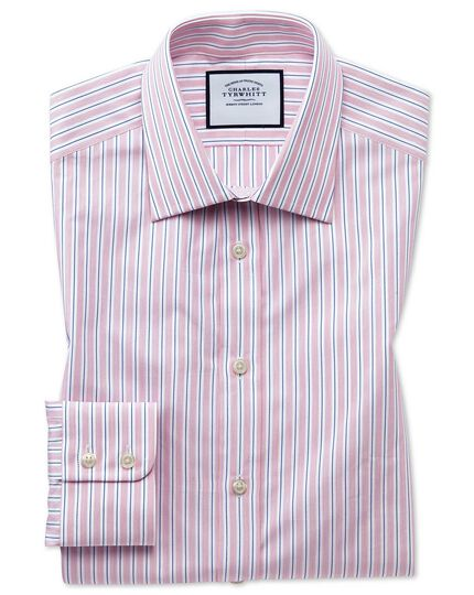 Classic fit Egyptian cotton poplin pink stripe shirt