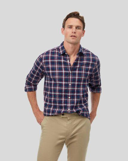Knitterhemd mit Kent Kragen und Karos - Marineblau
