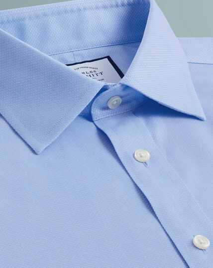 Bügelfreies Hemd aus Gewebe mit Triangelmuster - Himmelblau