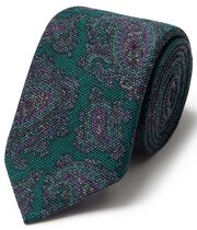 Green paisley wool print luxury Italian tie