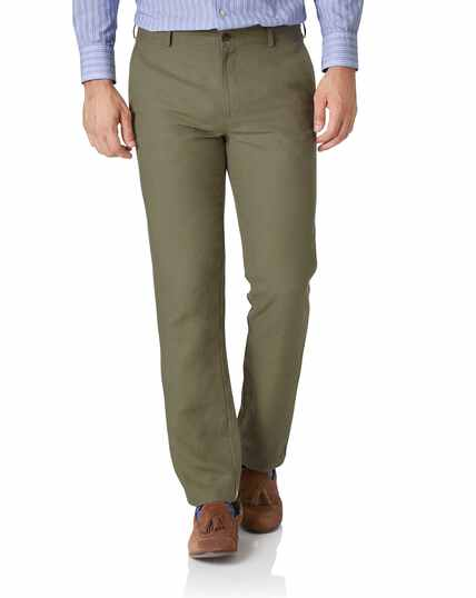 Olive slim fit easy care linen trousers