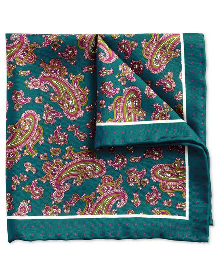 Teal and pink classic detailed paisley pocket square