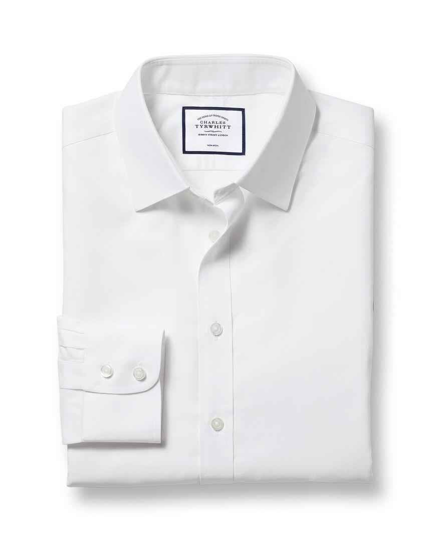 Bügelfreies Twill Hemd mit Kent Kragen  - Weiß