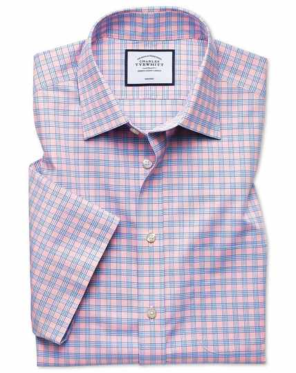 Slim fit non-iron Tyrwhitt Cool poplin short sleeve pink check shirt