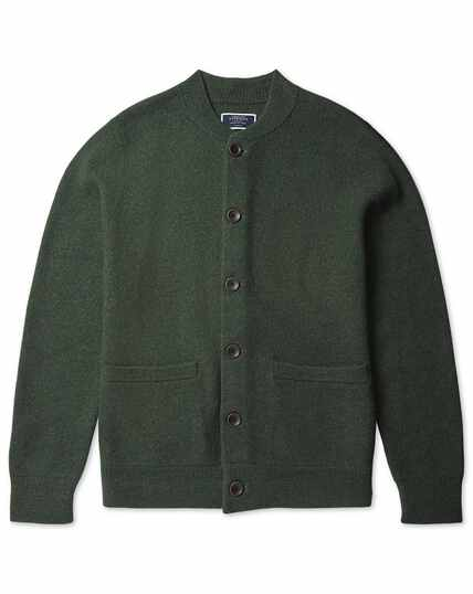 Forest green boiled wool bomber