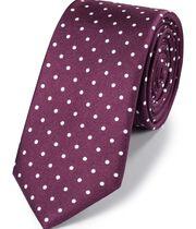 Schmale klassische Krawatte aus Seide mit Punkten in Burgunderrot und Weiß