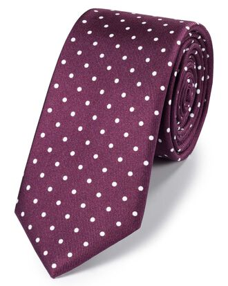 Burgundy and white silk slim printed spot classic tie