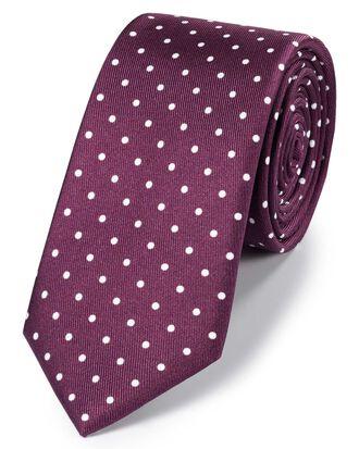 Cravate slim classique bordeaux et blanche en soie à pois imprimés