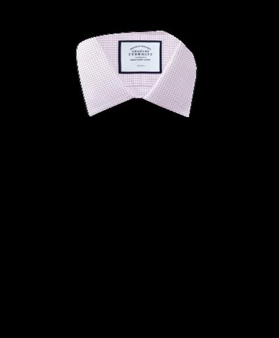 Extra slim fit non-iron twill mini grid check purple shirt