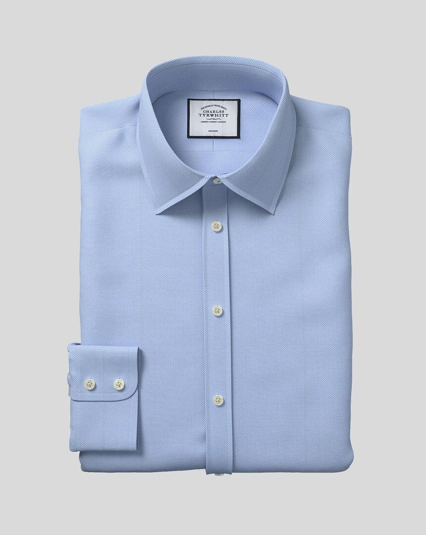 Bügelfreies Hemd mit Kent-Kragen und Fischgrätmuster  - Himmelblau