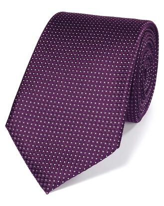 Purple silk pindot semi plain classic tie