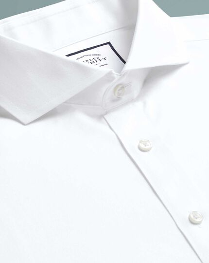 Slim fit white non-iron twill extreme spread collar shirt