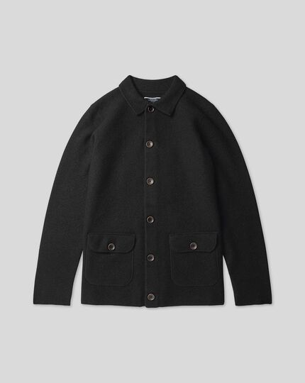 Brushed Wool Bomber Jacket - Dark navy