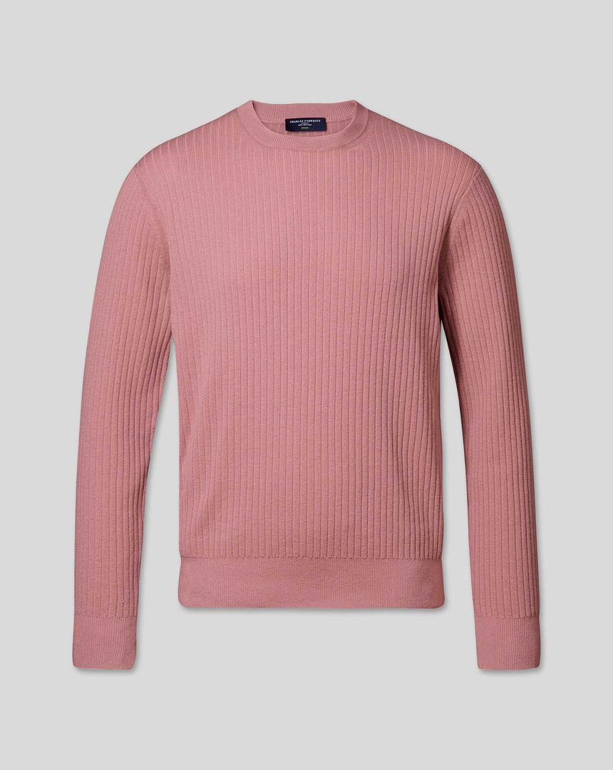 Wool Cotton Rib Sweater - Pink
