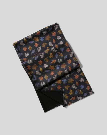 Silk Leaf Print Scarf - Black