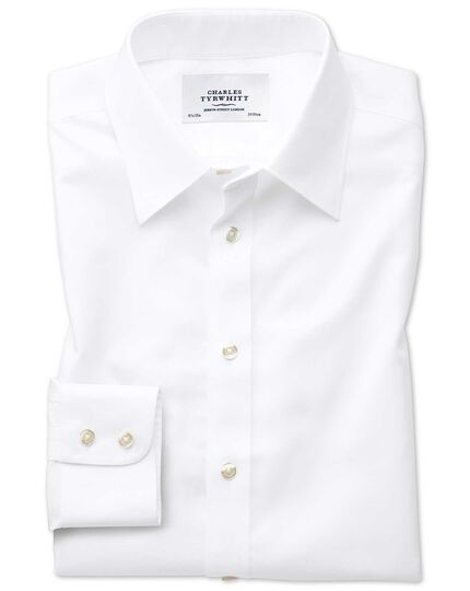 Slim fit forward point collar non-iron twill white shirt