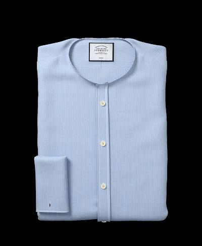 Bügelfreies Hemd mit Kent-Kragen und Bengal-Streifen - Himmelblau