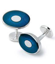 Emaille-Manschettenknöpfe mit ovalem abgestuftem Design in Marineblau