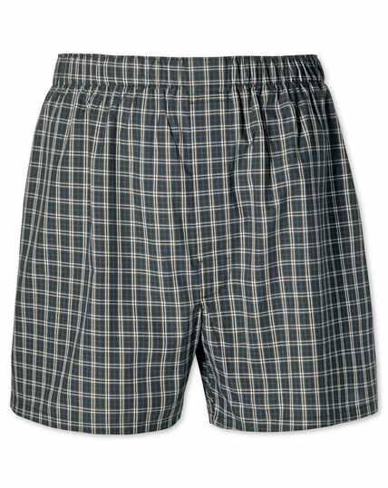 Green check woven boxers