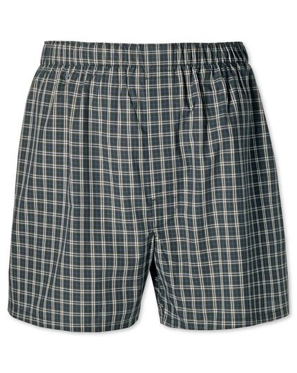 Green check woven boxers