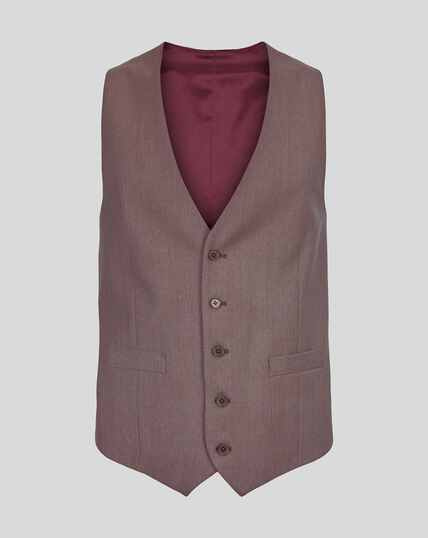 Twill Business Suit Waistcoat - Fig
