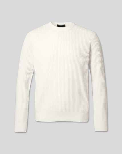 Wool Cotton Rib Sweater - White