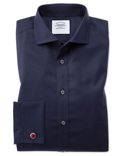 Extra slim fit navy non-iron spread collar twill shirt