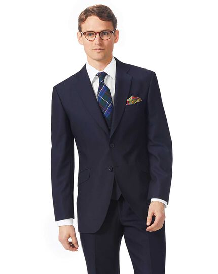Navy classic fit textured Italian suit jacket