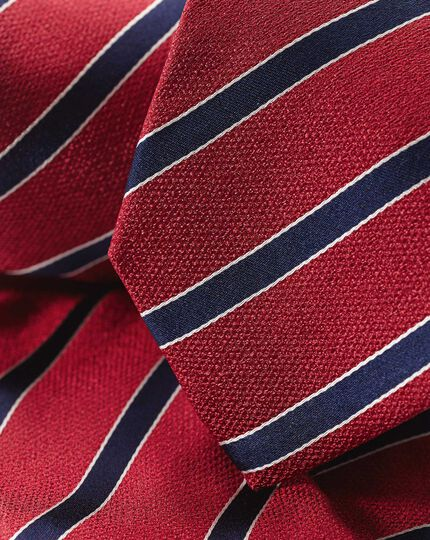 Silk Stripe Classic Tie - Red & Navy
